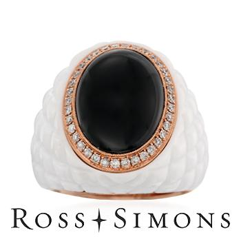 Black, White Agate Quilted Ring, .38ct t.w. Diamonds in Gold. Size 7 white and black diamond rings
