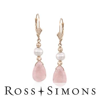 5-6mm Pearl, Pear-Shaped 10.00ct t.w. Morganite Earrings in Gold