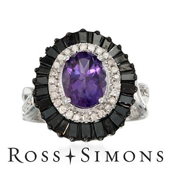1.60ct Amethyst, 1.04ct t.w. Black, White Diamond Ring in Silver white and black diamond rings