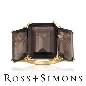 20.00 ct. t.w. Smoky Quartz Ring in 14kt Over Sterling