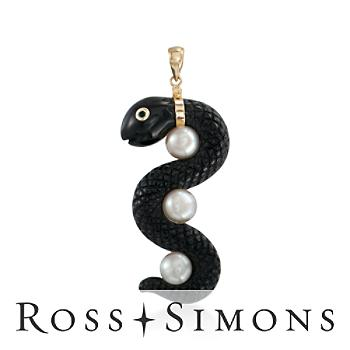 Carved Black Agate, Cultured Pearl Snake Pendant, 14kt Yellow Gold