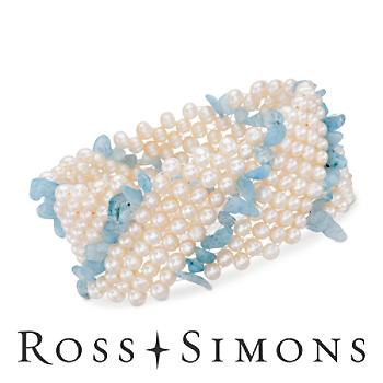 Pearl and Aquamarine Multi-Strand Stretch Bracelet. Adjustable Size