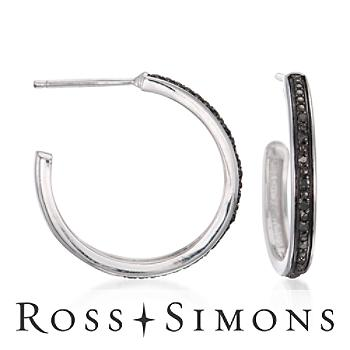 Black Diamond Half-Hoop Earrings in Sterling Silver