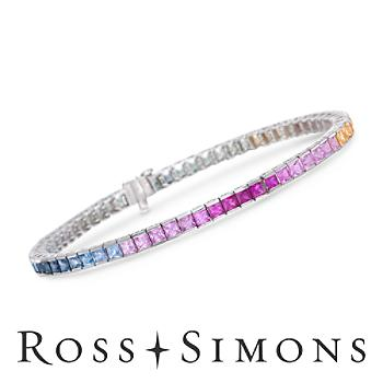 7.75 ct. t.w. Multicolored Sapphire Bracelet in 14kt White Gold