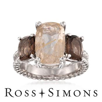 .90ct t.w. Rutilated Quartz, Smoky Quartz Three-Stone Ring in Silver