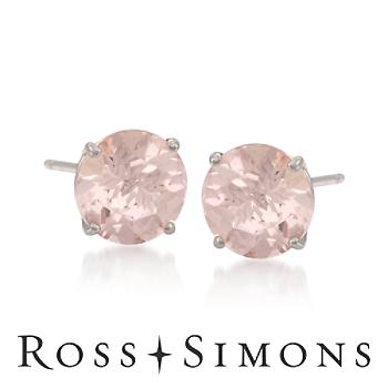 2.50 ct. t.w. Morganite Stud Earrings in 14kt White Gold