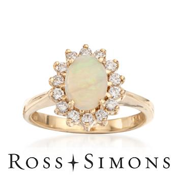 C. 1980 Vintage Opal Ring With Diamonds In 14kt Yellow Gold. Size 5.5 opal and diamond rings