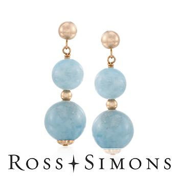 Milky Aquamarine Bead Drop Earrings in 14kt Yellow Gold