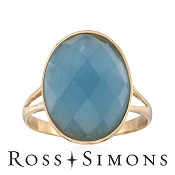 Milky Aquamarine Bezel-Set Ring in 14kt Yellow Gold