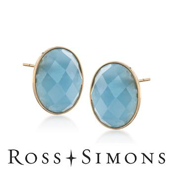 MILKY AQUAMARINE BEZEL-SET Earrings in 14kt Yellow Gold""