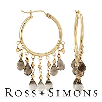 14.00 ct. t.w. Smoky Quartz Chandelier Hoop Earrings