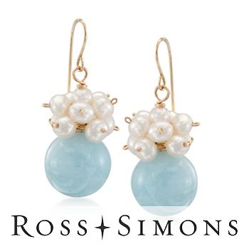 Aquamarine and 3-4mm Pearl Drop Earrings in 14kt Yellow Gold""