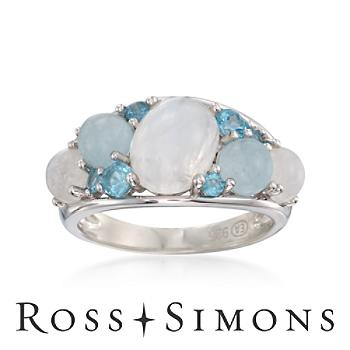 Moonstone and 2.35 ct. t.w. Mixed Gem Ring in Sterling Silver silver moonstone ring