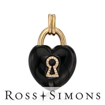 Black Agate, .11ct t.w. Diamond Keyhole Heart Pendant in Gold