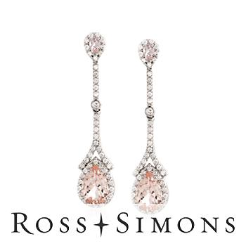 5.00 ct. t.w. Morganite and 1.50 ct. t.w. Diamond Drop Earrings in 14kt White Gold""