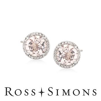2.30ct t.w. Morganite .15ct t.w. Diamond Stud Earrings in Silver