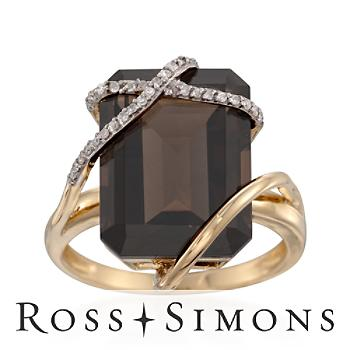 Smoky Quartz and Diamond Ribbon Ring in 14kt Yellow Gold