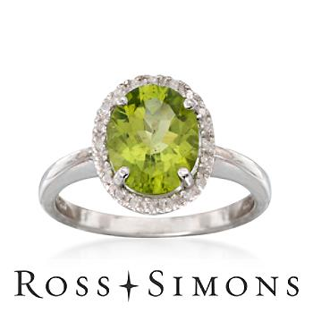2.40 Carat Peridot Ring With Diamonds in Sterling Silver
