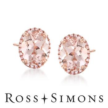 3.40ct t.w. Morganite .20ct t.w. Diamond Earrings in 14kt Rose Gold