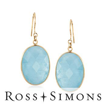 Faceted Milky Aquamarine Drop Earrings in 14kt Yellow Gold""