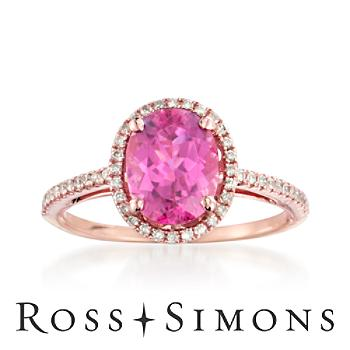 1.95ct Pink Tourmaline, .20ct t.w. Diamond Ring in 14kt Rose Gold