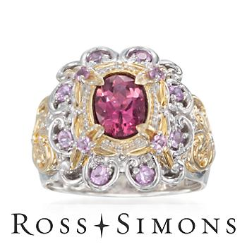 1.20 Carat Pink Tourmaline and .60 ct. t.w. Sapphire Ring in Two-Tone