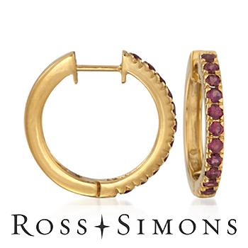 1.10 ct. t.w. Rhodolite Hoop Earrings in 14kt over Sterling""