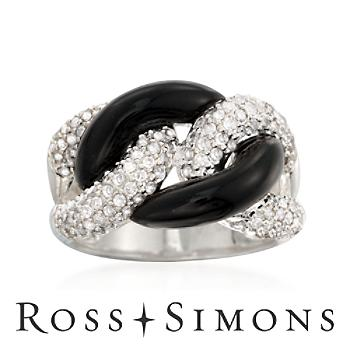 Black Agate  1.05ct t.w. Diamond Chain-Link Ring in Silver