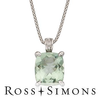 """7.05 Carat Green Amethyst Pendant Necklace with Diamonds in Sterling Silver. 18"""""""
