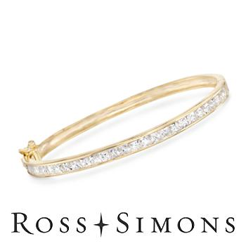 4.30ct t.w. Princess-Cut CZ Bangle Bracelet in 14kt Gold Over Sterling