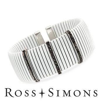 .33 ct. t.w. Black Diamond White Ridged Cuff Bracelet in Sterling Silver and 18kt White Gold. 7""
