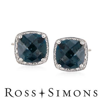 3.36 ct. t.w. London Blue Topaz and .16 ct. t.w. Diamond Earrings