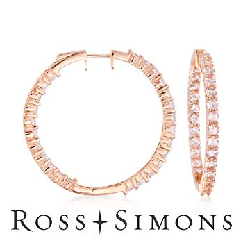 5.75 ct. t.w. Morganite Inside-Outside Hoop Earrings in 14kt Rose Gold Over Sterling Silver""