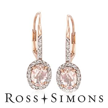 1.50 ct. t.w. Morganite and .25 ct. t.w. Diamond Earrings in 14kt Rose Gold Over Sterling""