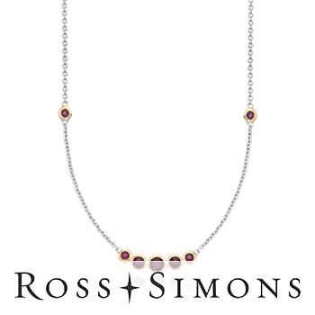 1.80 ct. t.w. Rhodolite Garnet Station Necklace in Two-Tone Sterling Silver. 18""
