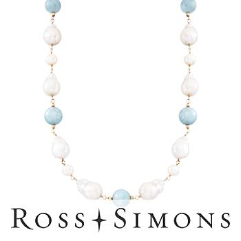 9-13mm Cultured Pearl and Milky Aquamarine Bead Necklace in 14kt Yellow Gold. 18""