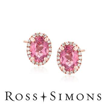 1.50 ct. t.w. Pink Tourmaline and .14 ct. t.w. Diamond Stud Earrings in 14kt Rose Gold""