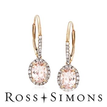 1.30ct t.w. Morganite .18ct t.w. Diamond Drop Earrings in Gold