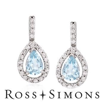 1.20 ct. t.w. Aquamarine and .45 ct. t.w. Diamond Drop Earrings in 14kt White Gold""
