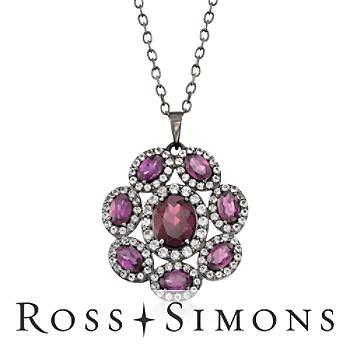 6.40 ct. t.w. Rhodolite Garnet and 2.20 ct. t.w. White Topaz Flower Necklace in Sterling Silver. 18""