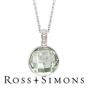 """4.95 Carat Green Amethyst Pendant Necklace with Diamond Accents in Sterling Silver. 18"""""""