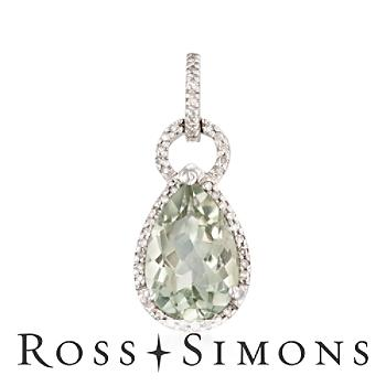 """2.50 Carat Green Amethyst and .10 ct. t.w. Diamond Pendant in 14kt White Gold"""""""