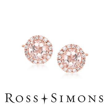 .70ct t.w. Morganite .10ct t.w. Diamond Stud Earrings in Gold