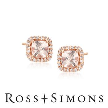 1.70 ct. t.w. Morganite and .26 ct. t.w. Diamond Stud Earrings in 14kt Rose Gold""