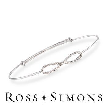 Diamond Accent Infinity Symbol Bangle Bracelet in Sterling Silver