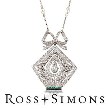C. 1935 Vintage 3.00ct t.w. Diamond, Black Onyx Necklace, Emeralds, Gold. 17