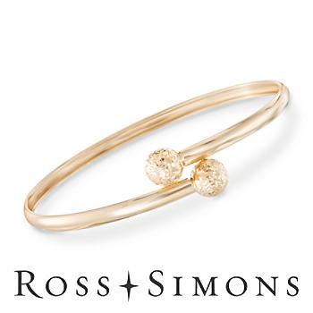 14kt Yellow Gold Diamond-Cut Bead Bypass Bangle Bracelet