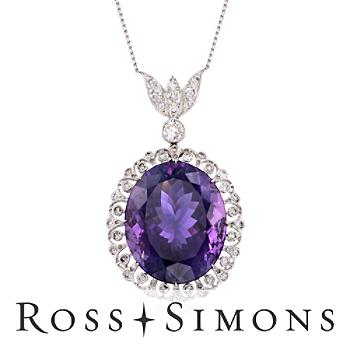 C. 2000 Vintage 45.75ct Amethyst, 1.70ct t.w. Diamond Necklace in 14kt, Gold..