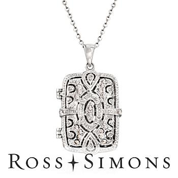 .30 ct. t.w. CZ Filigree Locket Necklace in Sterling Silver. 18