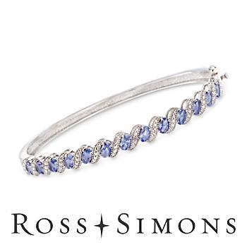 1.90ct t.w. Tanzanite Bangle Bracelet, Diamond Accents in Silver